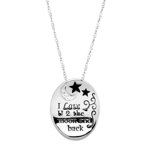 Crystaluxe 'I Love U 2 the Moon & Back' Concave Pendant with Swarovski Crystals in Rhodium-Plated Sterling Silver - White