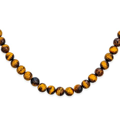 Brown Tiger Eye Round Bead Strand Necklace Silver Plated Toggle Clasp