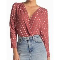 ASTR Red Womens Size XL Polka-Dot Print Surplice Bodysuit Blouse