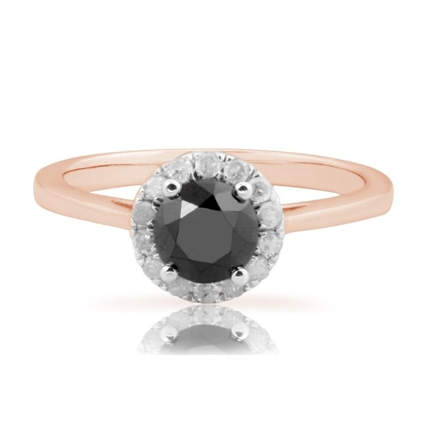 Fabulous 1.18Ct Round Brilliant Cut Black Diamond With Diamond Engagement Ring