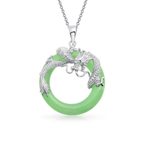 Dragon Round Circle Green or Red Jade Pendant Sterling Silver Necklace