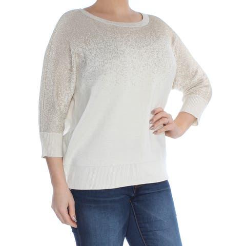 CHARTER CLUB Womens Gold Glitter Dolman Sleeve Jewel Neck Sweater Plus Size: 0X