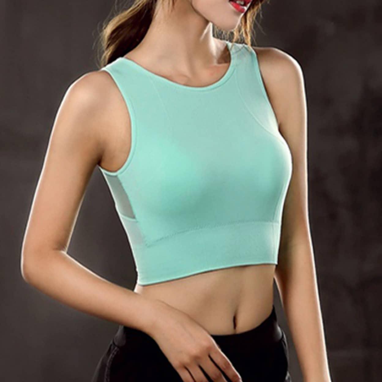 Women/'s Mesh Padded Sports Bra Crop Tops Yoga Workout Gym Fitness Vest Shaper DS