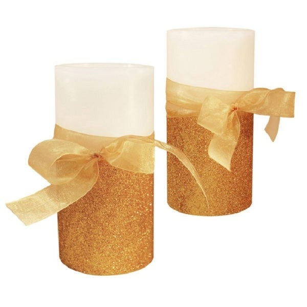 "Set of 2 Gold Bow and Christmas Berry Battery Operated LED Flameless Pillar Candles 6"" - N/A"