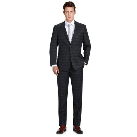 Men's 2-Piece Classic Fit 100% Premium Wool Black Suit