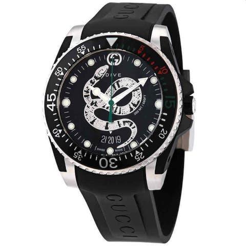 Gucci Men's YA136323 'Dive' Black Rubber Watch - Multi