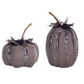 "Set of 2 Charcoal Grey and Silver Glitter Pumpkin Tabletop Decorations 9"" - 11.5"""