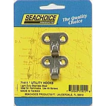 "Seachoice 71411 Utility Hook, 1-1/4"" x 1-1/4"", Pack-2"