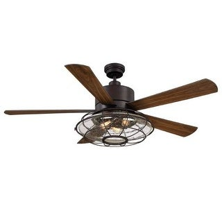 """Savoy House 56-578-5WA Connell 56"""" Span 5 Blade Hugger Indoor Ceiling Fan With Blades, Light Kit, And Remote Included"""