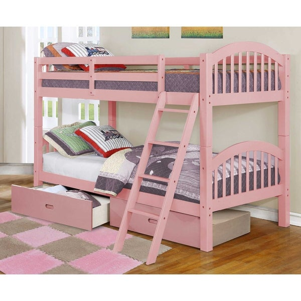 Traditional Pink Finish Twin over Twin Arched Wood Bunk Bed with 2 Drawers. Opens flyout.
