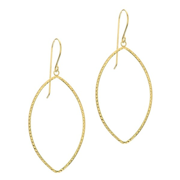 Mcs Jewelry Inc 14 KARAT YELLOW GOLD DIAMOND CUT OPEN OVAL DANGLING EARRINGS
