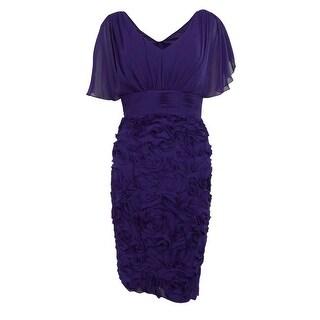 JS Collections Women's Chiffon Flutter V-Neck Evening Dress