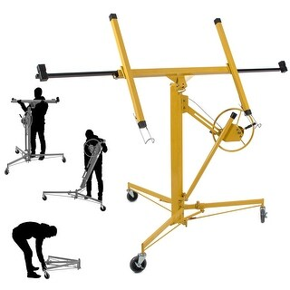 ARKSEN Drywall Panel Lift Dry Wall Panel Hoist Adjustable Lockable Lifter Ceiling Max 11 FT w/ Caster Wheels, Yellow