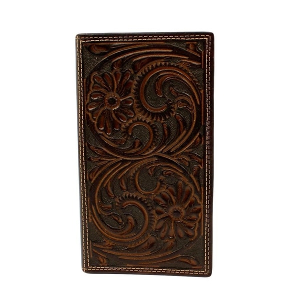 Nocona Western Wallet Mens Rodeo Floral Embossed Brown - 6 3/4 x 3 3/4