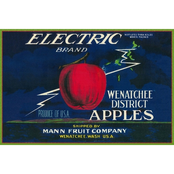 Electric Apple Label (Art Print - Multiple Sizes Available) - 9 x 12 Art  Print