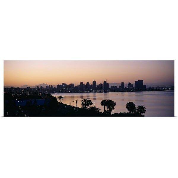 """Silhouette of buildings at the waterfront, San Diego, San Diego Bay, San Diego County, California"" Poster Print"