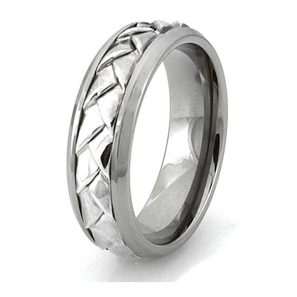 Titanium Ring w/ Sterling Silver Braided Center Design