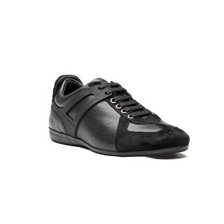 Versace Collection Men's Leather Suede Low Top Sneakers Shoes Black