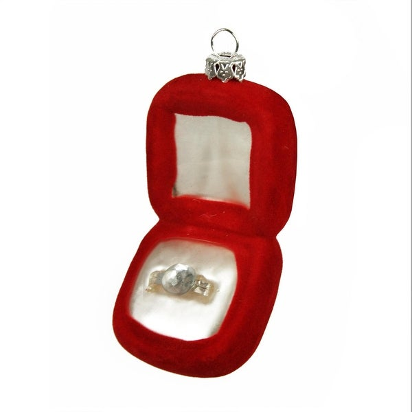 "3.25"" Diva Jewel Red Wedding Ring Box Glass Christmas Ornament"