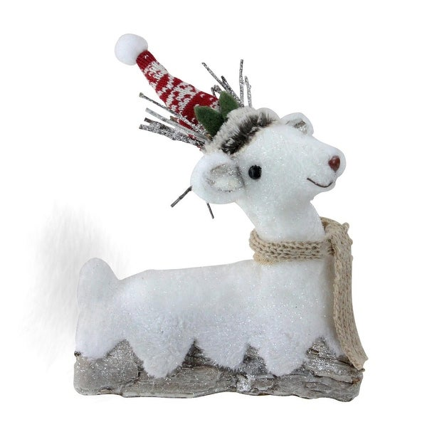 """9"""" Retro Christmas White and Brown Sitting Reindeer Christmas Decoration"""