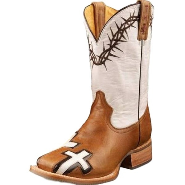 Tin Haul Western Boots Women Cross John 3:16 Brown