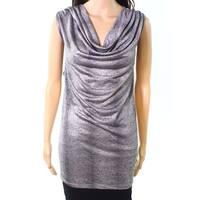 Kasper Silver Women's Size 3X Plus Cowl Neck Metallic Blouse