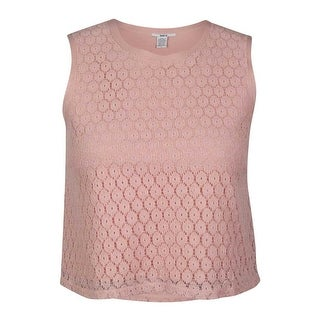 Bar III Women's Sleeveless Lace Cropped Top - l