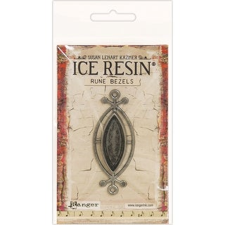 Ice Resin Rune Bezel Small Ellipse-Antique Silver