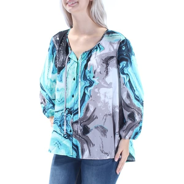 Womens Blue Scoop Neck 3//4 Sleeve T-Shirt Top Plus 0X BHFO 1497 Style /& Co