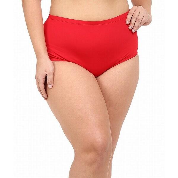 La Blanca Red Womens Size 22W Plus High-Waist Swim Bikini Bottom