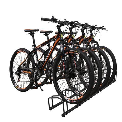 6 Bicycle Floor Parking Storage Stand, Garage Bike Rack Parking