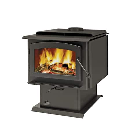 Napoleon 2300 Economizer EPA 3 Cubic Foot Pedestal Wood Burning Stove from the Timberwolf Collection - Matte Black