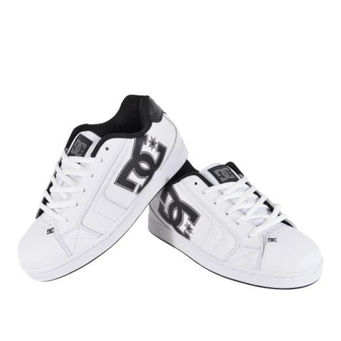 DC Shoes Men's White Leather NET 302361 Skateboard Sneakers Tennis Shoes