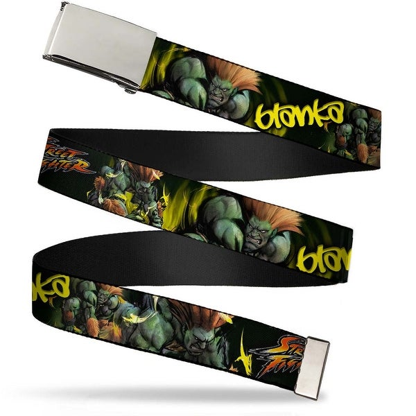 Blank Chrome Buckle Street Fighter Blanka Action Pose Webbing Web Belt