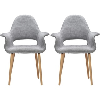 2xhome - Set of 2, Grey Modern Organic Chairs With Arm Armchairs Solid Wood Natural Legs Dining Chairs Living Room Restaurant