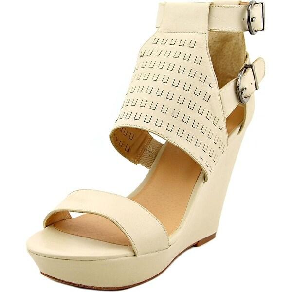 Joe's Kent Women Open Toe Leather White Wedge Sandal