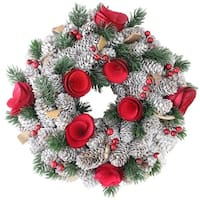 """10"""" Pine Cones with Berries and Flowers Artificial Christmas Wreath - Unlit - brown"""