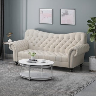 "Link to Wastacio Chesterfield Button-tufted Sofa by Christopher Knight Home - 34.00""D x 84.50""W x 37.50""H Similar Items in Sofas & Couches"