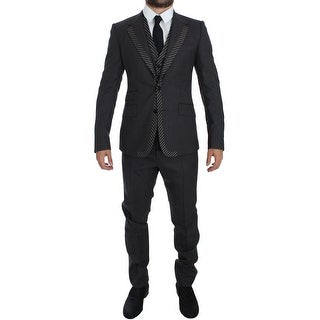 Dolce & Gabbana Gray Striped 3 Piece Slim Suit Tuxedo