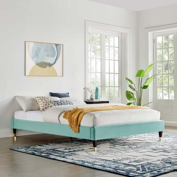 Harlow Full Performance Velvet Platform Bed Frame Overstock 32375451 Mint