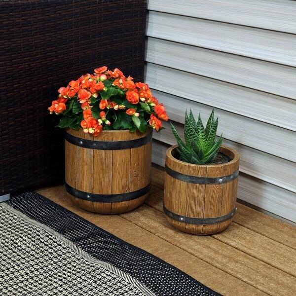 "Sunnydaze 2-Piece Fiber Clay Classic Barrel Planter - 9-Inch and 12-Inch Pots - (1) 9"" & (1) 12"""
