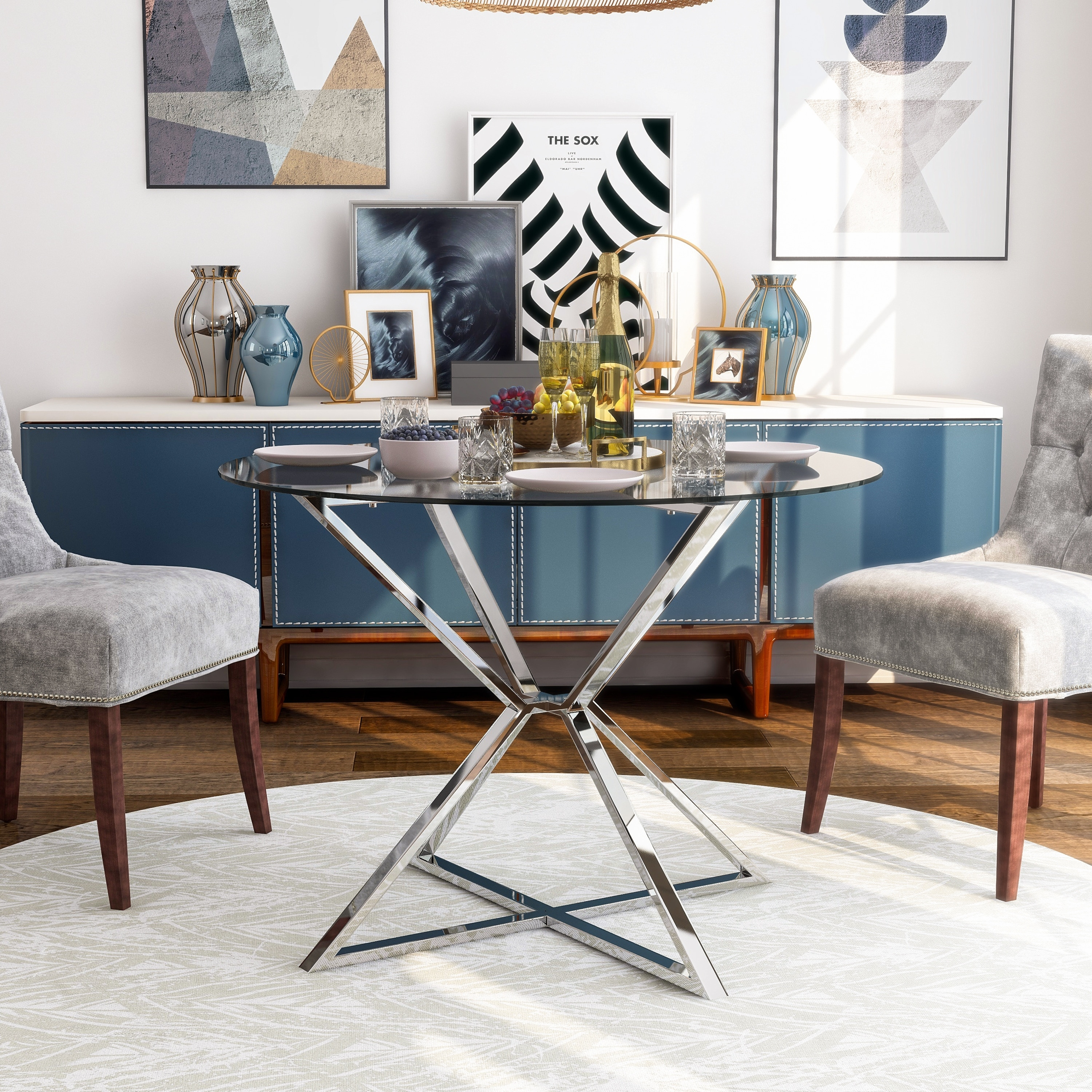 Furniture Of America Grazi Contemporary Glass Top Round Dining Table Overstock 32520511