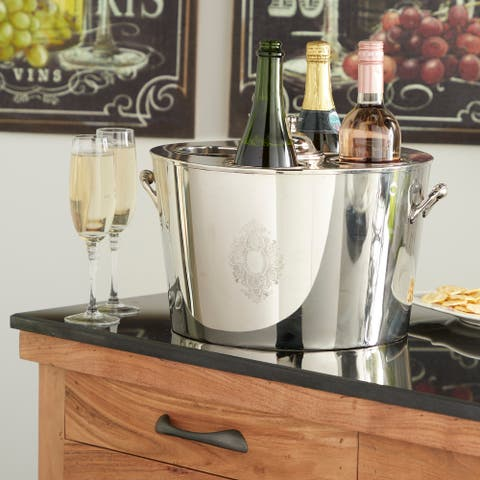 Traditional Large Oval Silver Metal Wine Bucket Bottle Cooler with Handles, 15 x 10 - 15 x 14 x 10