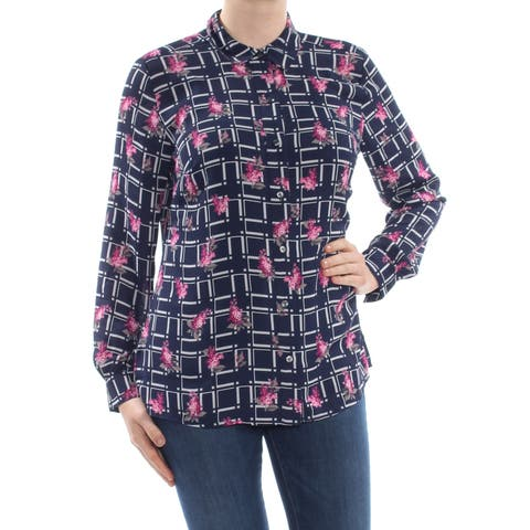 CHARTER CLUB Womens Navy Plaid Floral Print Long Sleeve Collared Button Up Top Size: M