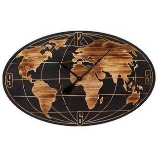 """42"""" Black and Brown Vincent World Map Themed Oval Analog Wall Clock"""