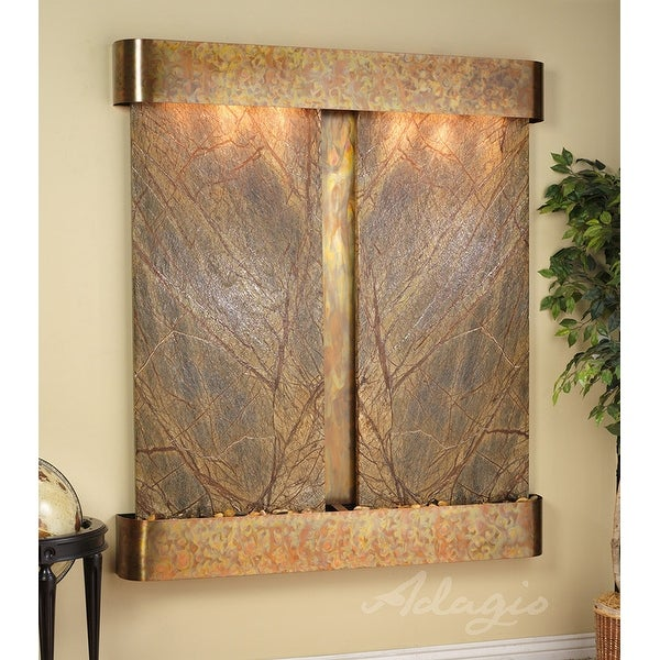 Adagio Cottonwood Falls Fountain w/ Green Natural Slate in Stainless Steel Finis