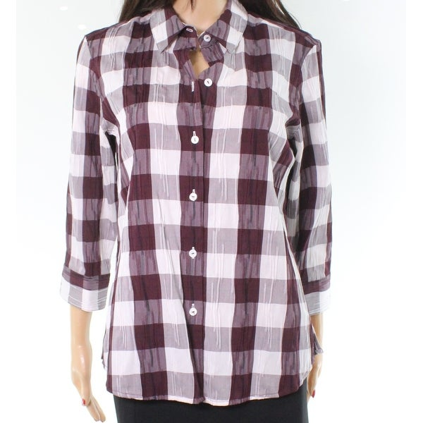 82bfcb2f Shop Foxcroft Port White Plaid Women's Crinkled Button Down Shirt - On Sale  - Free Shipping On Orders Over $45 - Overstock - 26917324