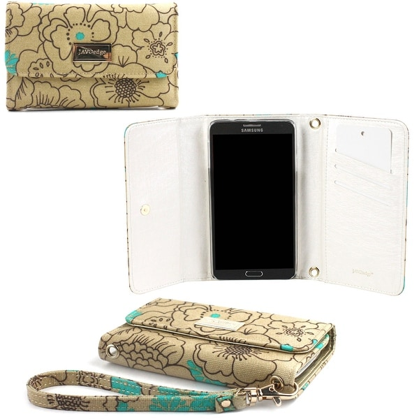 JAVOedge Poppy Wallet Case with Wristlet for the Samsung Galaxy Note 3 (Turquoise) - poppy turquoise