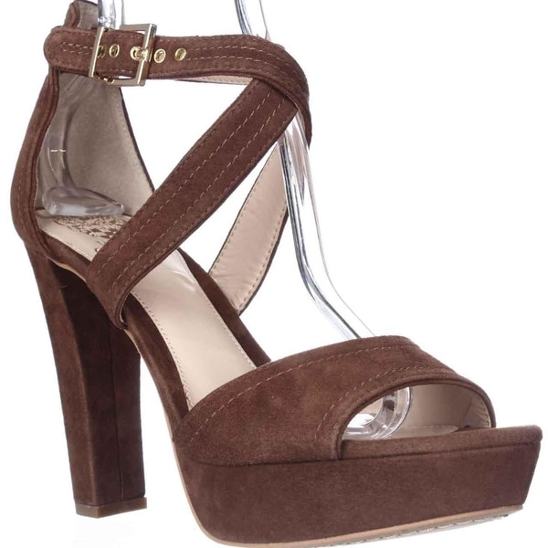 Vince Camuto Shayla Platform Cross Strap Sandals, Milk Chocolate