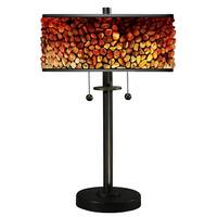 """23"""" Traditional Style Decorative Tiffany Table Lamp with Pebble Stones Designed Shade - Brown"""